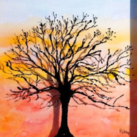 Winter Branches Reveal Sunset – Watercolour Painting on Glass – Patsy Dinc – Sussex Artists Gallery – Glass Painting and Watercolour Artist
