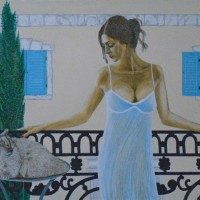 Woman Annoyed by her Cat – Horsham, West Sussex Artist – Roger Gasson