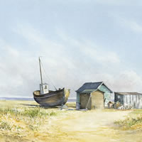 Beached Boat – Painting by Surrey Artist David Drury