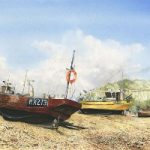 Hanging About – Boats at Hastings Sussex – Painting by Surrey Artist David Drury