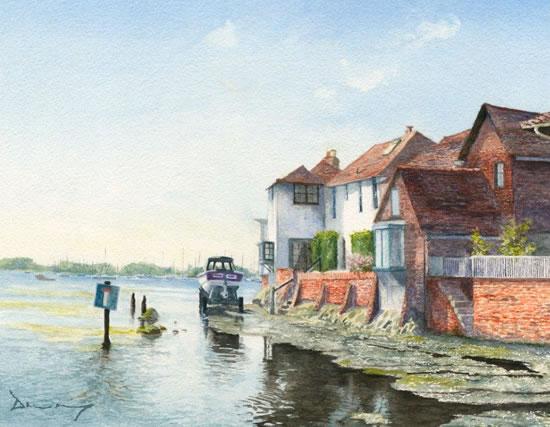Bosham Harbour - West Sussex - Painting by Surrey Artist David Drury