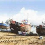 Fishing Boats on Hastings Beach – Painting by Surrey Artist David Drury