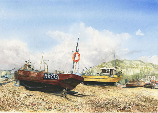 Hanging About - Boats at Hastings Sussex - Painting by Surrey Artist David Drury