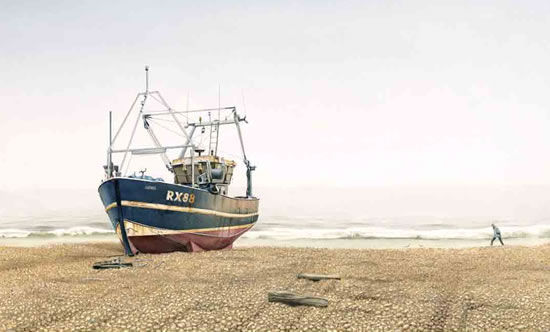 Cold Morning in Hastings Sussex - Boat on Beach Painting - Surrey Artist Noël Haring