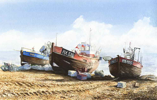 David Drury Fishing Boats on Beach - Sussex Art Gallery
