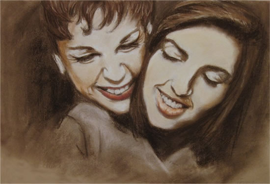Liza Minnelli and Judy Garland - Moment Between Mother and Daughter - Jennifer Morris - Portraiture Artist - Sussex Art Gallery