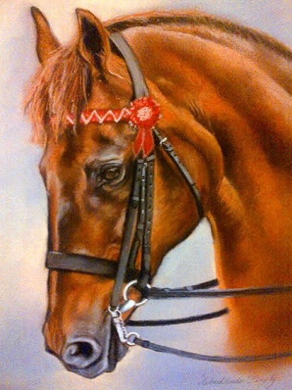 Portrait Of Horse - Woodlander Firefly - Jennifer Morris - Equestrian and Pet Portraiture Artist - Sussex Art Gallery