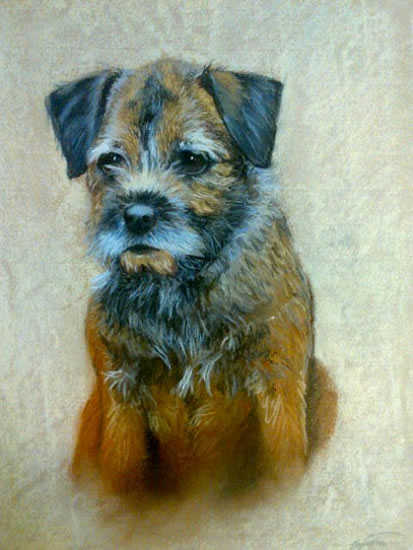 Portrait of Dog (Terrier) - Meg - Jennifer Morris - Pet Portraiture Artist - Sussex Art Gallery