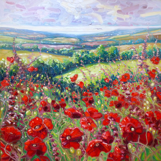Summer Poppies - Sussex Meadow - Landscape Artist Gill Bustamante