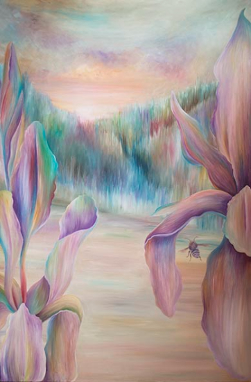 In Between Iris and Bee Oil Painting - Claire Harrison Sussex Art Gallery