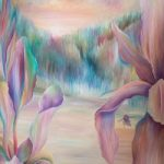In Between Iris and Bee Oil  Painting – Claire Harrison Sussex Art Gallery