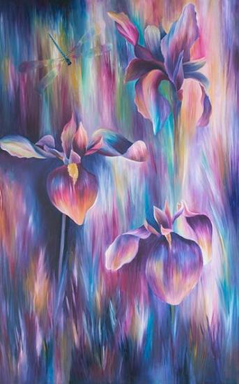 Iris Oil Painting - Claire Harrison West Sussex Artist