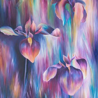 Iris Oil Painting - Claire Harrison