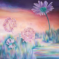 Under the Daisy – Oil Painting – West Sussex Artist Claire Harrison – Sussex Art Gallery