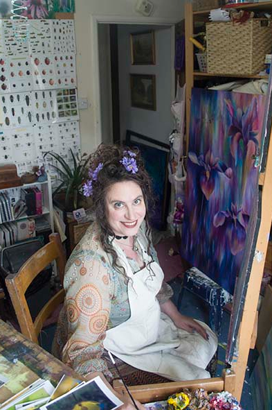 West Sussex Artist Claire Harrison in her art studio 1