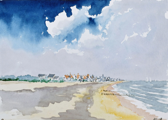 Pevensey Bay, East Sussex - Watercolour by Doug Myers, Surrey Artist