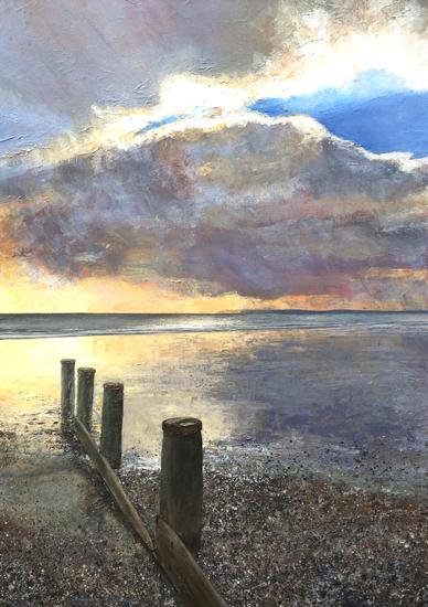 Bracklesham Bay Sunset - Seascape Painting - West Sussex Artist Glen Smith
