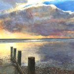Bracklesham Sunset – Seascape Painting – West Sussex Artist Glen Smith