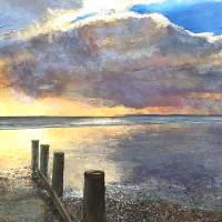 Bracklesham Sunset – Seascape Painting – West Sussex Artist Glen Smith