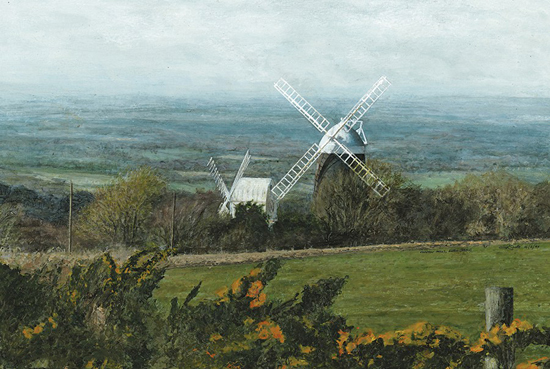 Clayton Windmills West Sussex - Landscape Painting by Chichester Artist Glen Smith