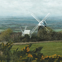 Clayton Windmills West Sussex – Landscape Painting by Chichester Artist Glen Smith