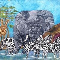 African Wildlife Painting Giraffes Elephant Zebras- Artist Richard Dunn