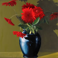 Black Vase with Red Gerberas Still Life Art
