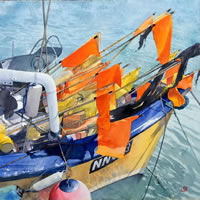 Fishing boat Newhaven East Sussex Painting by Artist Richard Cave