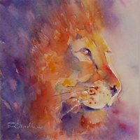 Lion Painting King by Artist Elisabeth Carolan