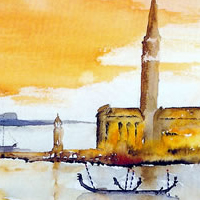 Venice St Marks Basin and Island of San Giorgio by Artist Terence Kitson
