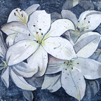 White Lillies Flower Art - Artist Kerry Regan