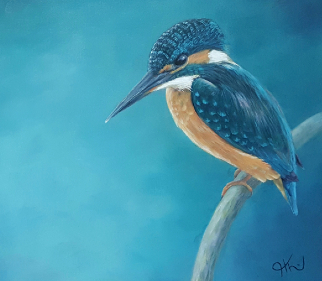 Kingfisher - Wildlife Portrait Artist - Sussex Art Gallery - Helen Thair