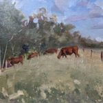 Lavant Down Chichester West Sussex – Painting of cows grazing in field