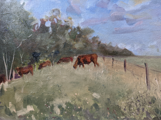 Lavant Down Chichester West Sussex - Painting of cows grazing in field