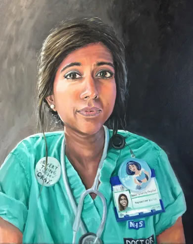 NHS Doctor Portraits for Heroes - painting by Cowfield Sussex Artist Carole Rupniak - Covid Pandemic