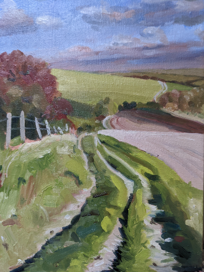 South Downs Way Landscape Painting - Blackcap and Ditchling Beacon - East Sussex Art Gallery
