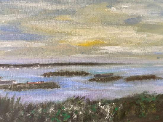 Seascape - Waiting for the Tide - Oil Painting by East Sussex Artist Sue Branch