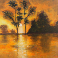 Sunset Behind the Trees Landscape Painting – East Sussex Contemporary Artist Sue Branch