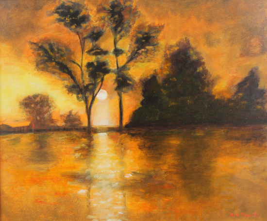 Sunset Behind the Trees Landscape Painting - East Sussex Contemporary Artist Sue Branch