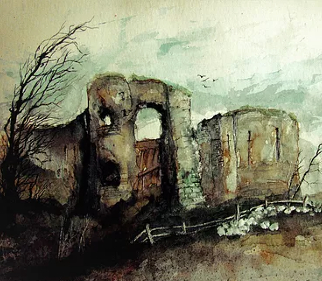 Pevensey Castle - English Heritage - Eastbourne Landscape Artist Chris Hill