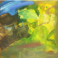 Abstract Art – Landscape Painting Fields with Boulder – Contemporary Crawley Artist Tom Glynn