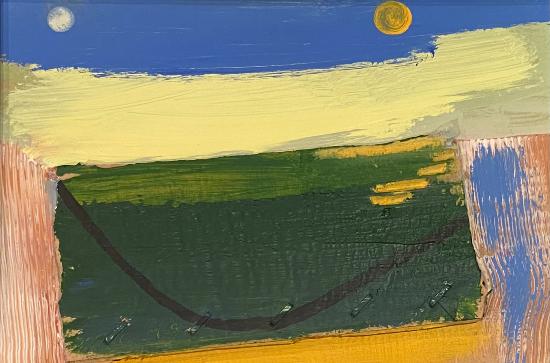 Equinox Moon Sun Landscape Painting - Modern Art - Crawley West Sussex Artist Tom Glynn