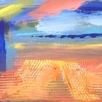 Harvest Fields Framed Abstract Art – Contemporary Crawley Sussex Artist Tom Glynn