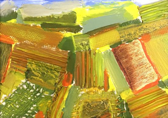 Haystack and Fields Mixed Media Art by Crawley Artist Tom Glynn