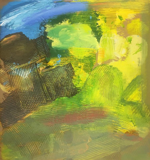 Landscape Painting Fields with Boulder - Contemporary Crawley Artist Tom Glynn