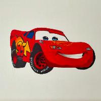 Car – Lightning McQueen – Originals –  various sizes framed or unframed  –  Hailsham, East Sussex Artist Andy Tardif