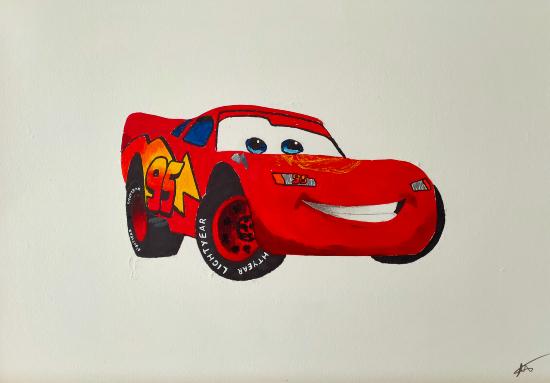 Car - Lightning McQueen - various sizes framed or unframed - Hailsham, East Sussex Artist Andy Tardif