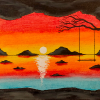 Cave at Sunset – Swing on Tree Branch – Contemporary Art – Hailsham, East Sussex Artist Andy Tardif