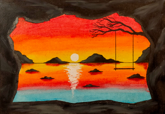 Cave at Sunset - Swing on Tree Branch - Contemporary Art - Hailsham, East Sussex Artist Andy Tardif