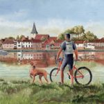 Cyclist with his dog at Bosham, West Sussex – Art Gallery – Art Prints – Artist David Whitson
